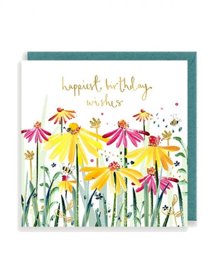 Birthday Echinacea Louise Mulgrew Greetings Card