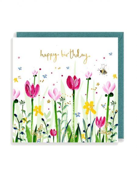 Birthday Tulips Louise Mulgrew Greetings Card