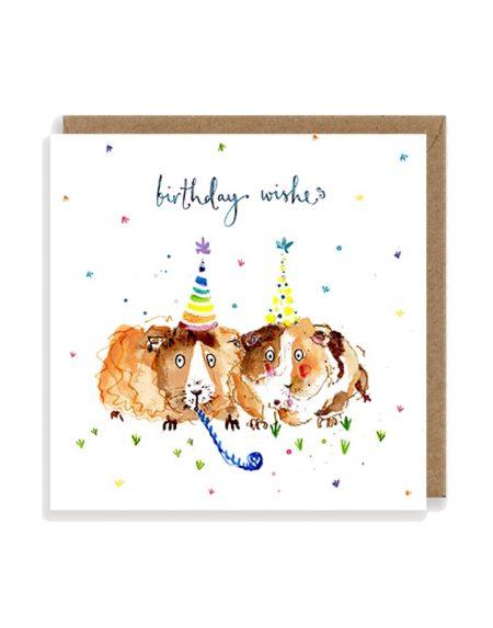Birthday Wishes Guinea Pigs Louise Mulgrew Greetings Card