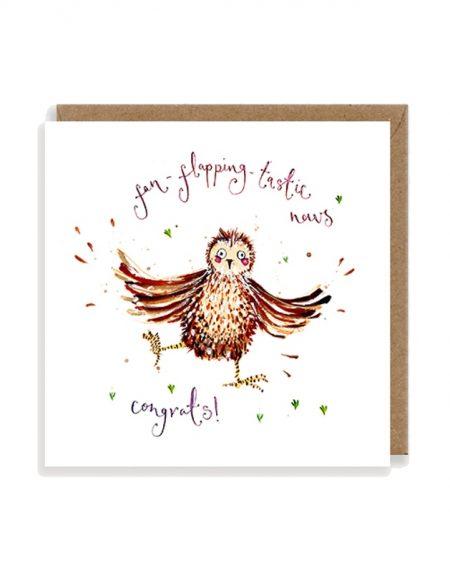Fan-Flapping-Tastic Owls Congratulations Louise Mulgrew Greetings Card