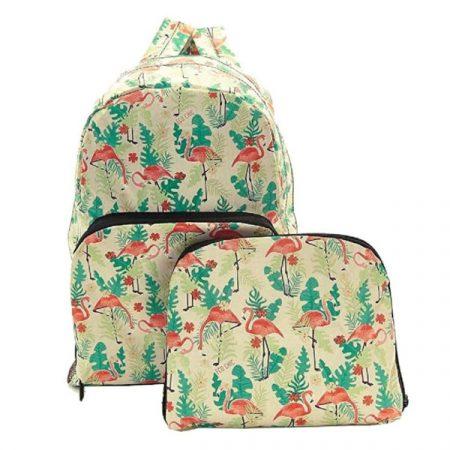 Eco Chic Beige Flamingo Foldable backpack