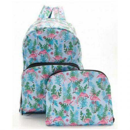 Eco Chic Blue Flamingo Foldable backpack