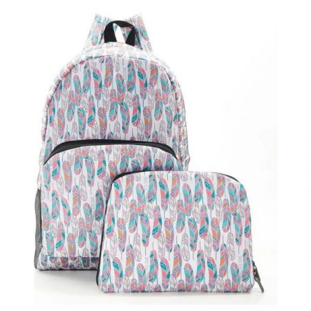 Eco Chic Feathers on white Foldable backpack
