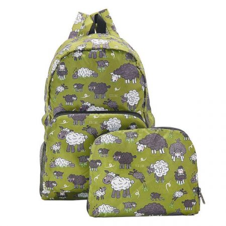 Eco Chic Green sheep Foldable backpack