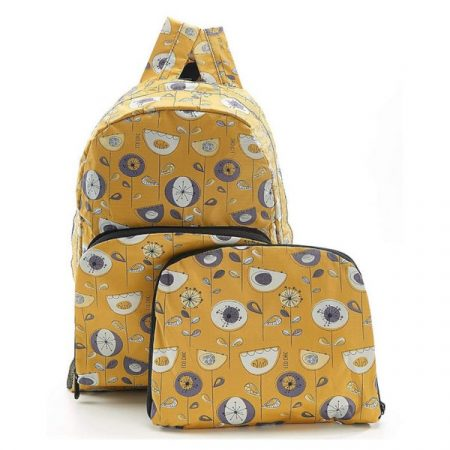 Eco Chic Mustard 1950's flowers Foldable backpack