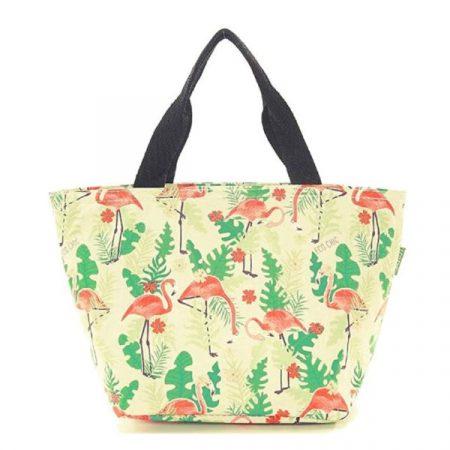 Eco Chic beige flamingo lunch bag
