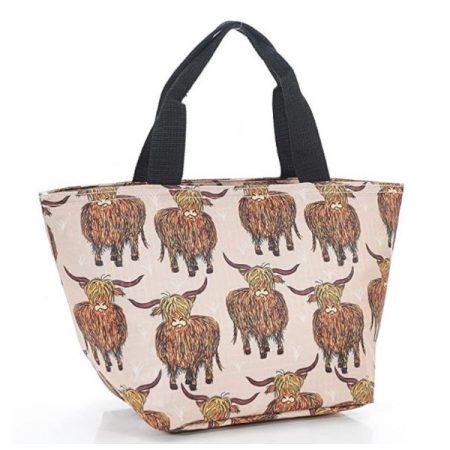 Eco Chic beige highland cow lunch bag