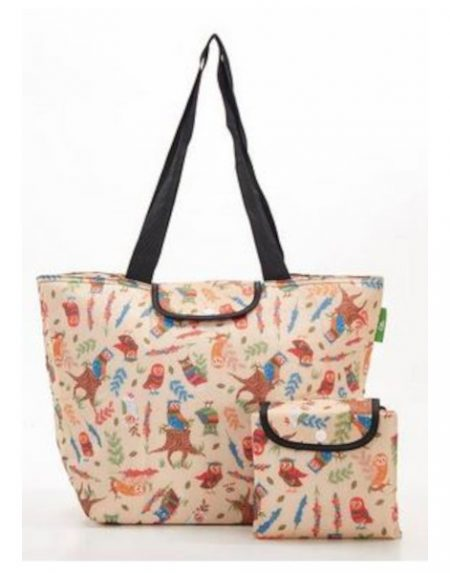 Eco Chic beige owl large cool bag