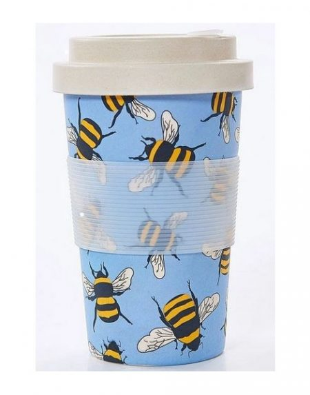 Eco Chic blue bees bamboo cup