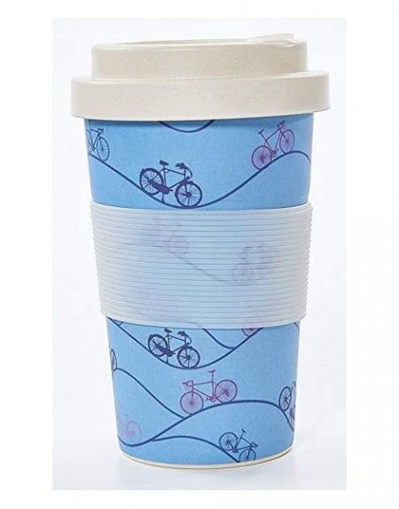 Eco Chic blue bike bamboo cup