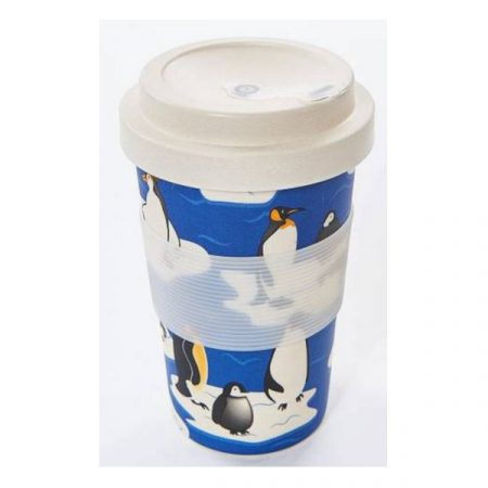 Eco Chic penguins on blue bamboo cup