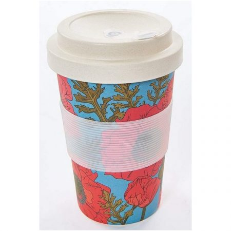 Eco Chic poppies on blue bamboo cup