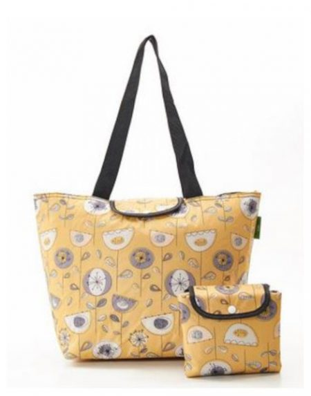 Eco chic mustard 1950's flowers large cool bag