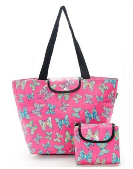 Eco chic pink butterfly large cool bag