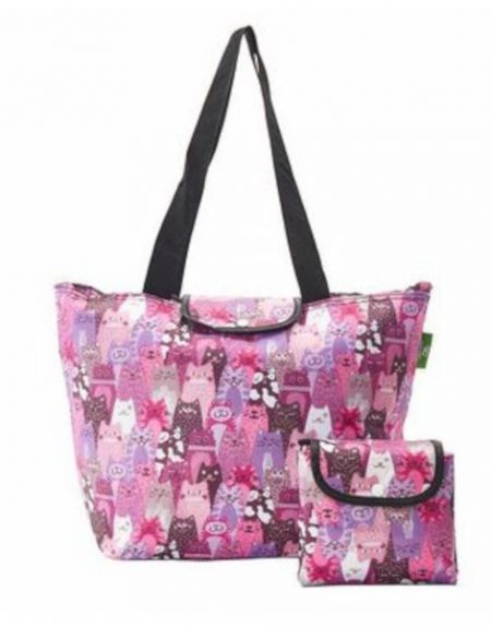 Eco chic purple stacking cats large cool bag