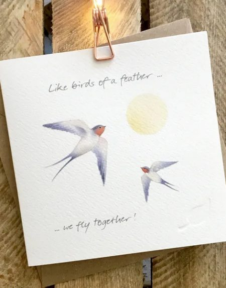 Birds of a feather greeting card by Ginger Betty