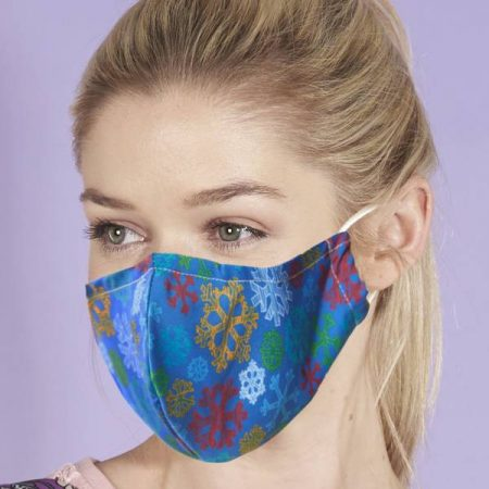 Eco Chic Blue Sketchy Snowflakes Face Cover