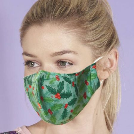Eco Chic Green Holly And Berry Face Cover