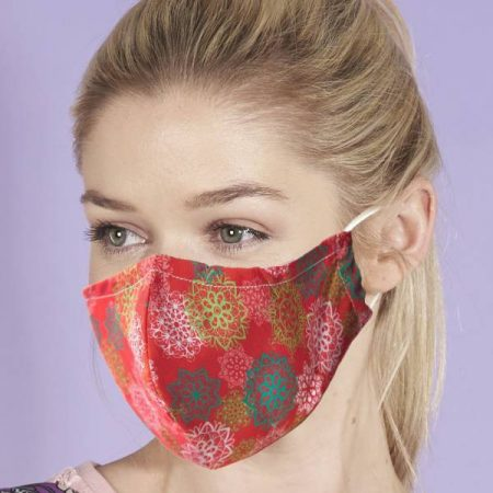 Eco Chic Red Floral Xmas Mandalas Face Cover