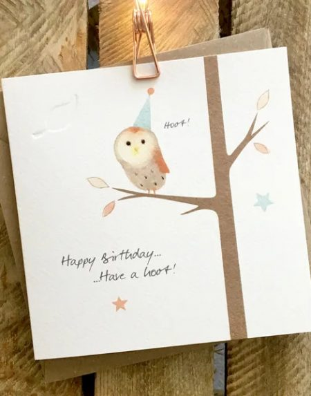 Happy birthday. Have a hoot! greeting card by Ginger Betty