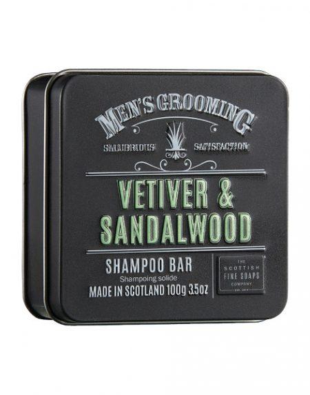 Scottish Fine Soaps Vetiver and Sandalwood Shampoo Bar in a Tin