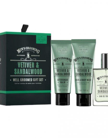 Scottish Fine Soaps Vetiver and Sandalwood Well Groomed Gift Set