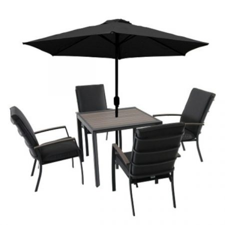 Milano 4 seat set with highback armchairs 2.5m parasol1