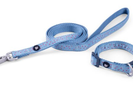Little Petface Collar Lead Set Powder Blue Ditsy Small